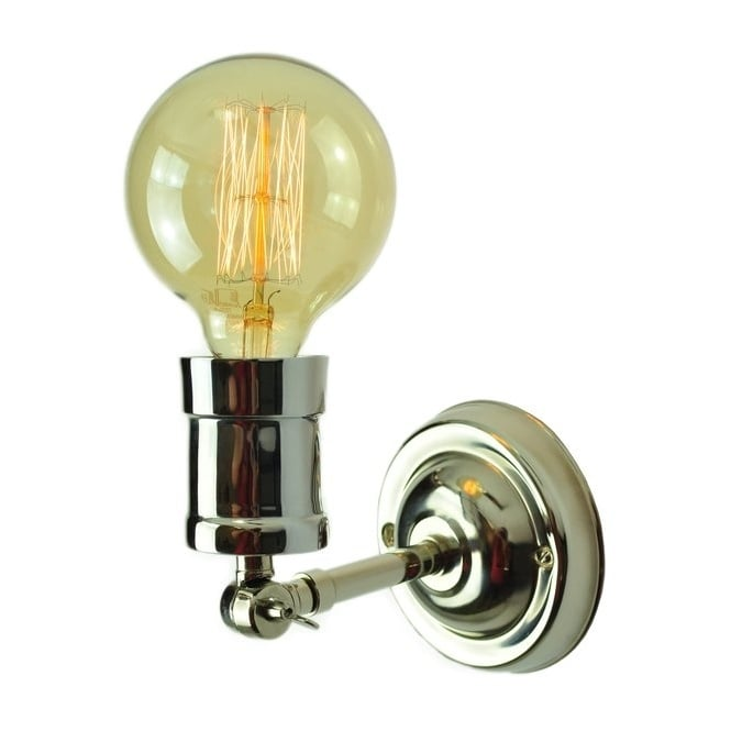 Edison Lighting TOMMY Industrial Styled Adjustable Wall Light in Polished Nickel and filament bulb.