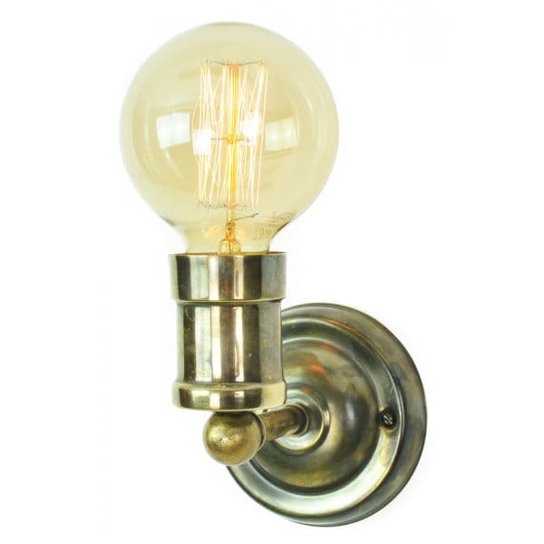 Small Brass wall light fitting supplied with vintage style bulbs