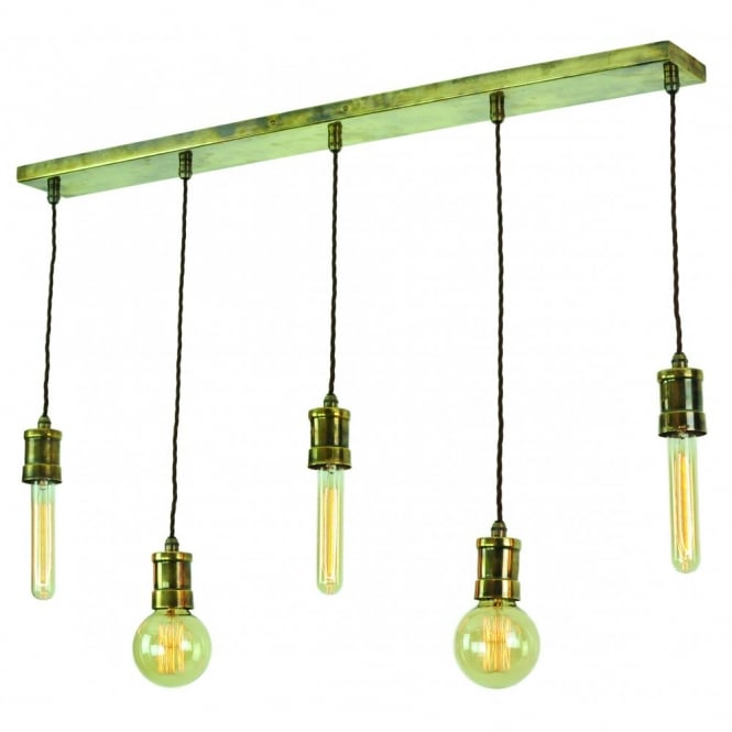 Edison Lighting TOMMY Long Bar Light Quality Solid Brass Ceiling With Fabric Covered Flex Holding Vintage Filament Bulbs
