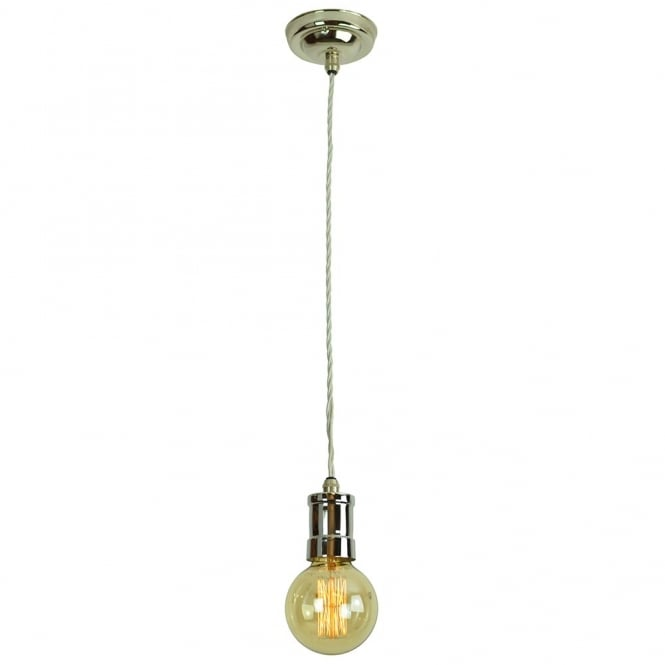 Edison Lighting TOMMY Nickel Plated Pendant Light Fitting showcases a single vintage light bulb.