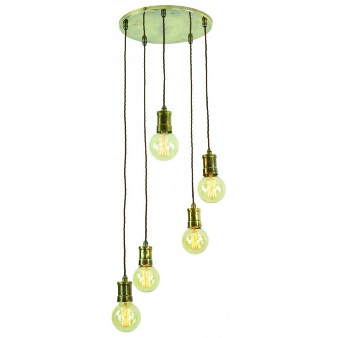 Edison Lighting TOMMY Pendant Solid Brass Cluster Light 5 staggered height vintage bulbs held on fabric cable