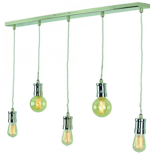 Edison Lighting TOMMY Polished Nickel Bar Lights 5 pendants in a row with complete with vintage bulbs