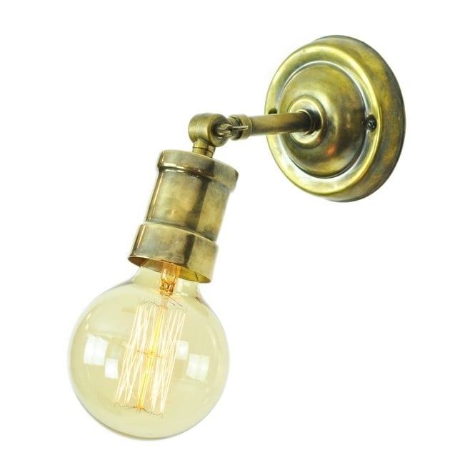 Small brass wall light fitting supplied with vintage style bulbs industrial lighting solid brass steampunk style with vintage bulb mozeypictures Images