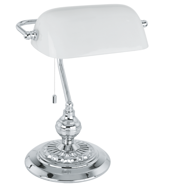 traditional chrome bankers lamp with white glass shade