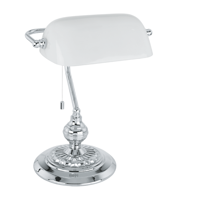 traditional chrome bankers lamp with white glass shade. Black Bedroom Furniture Sets. Home Design Ideas