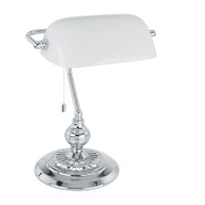 BANKER traditional classic design desk lamp in chrome with white shade
