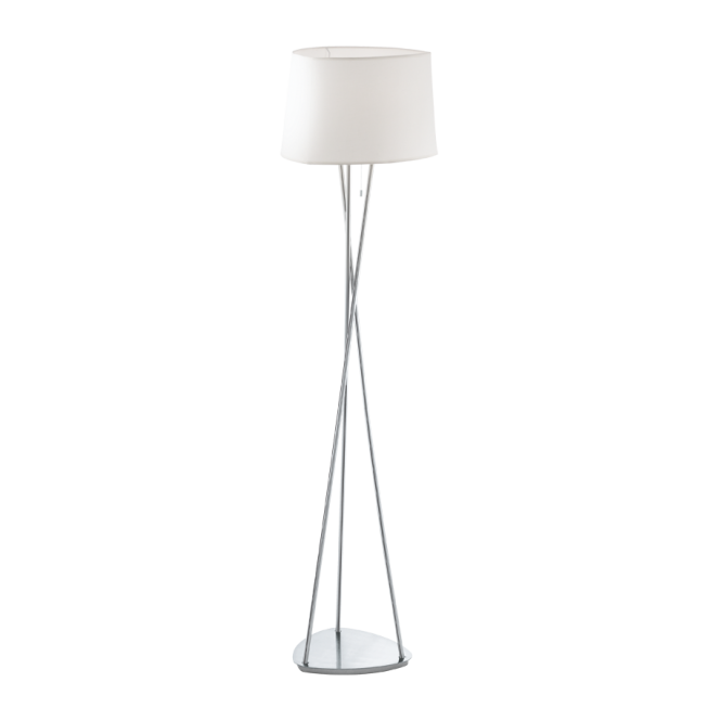 Contemporary Chrome Floor Lamp With Pull Cord Switch C W