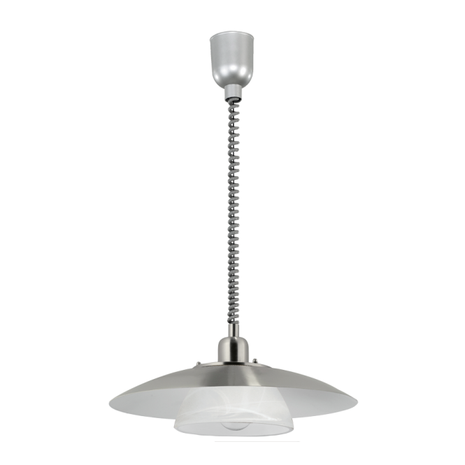 EGLO BRENDA satin nickel & alabaster glass rise and fall ceiling pendant (2 tier)