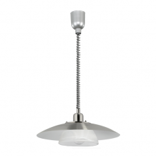 BRENDA satin nickel & alabaster glass rise and fall ceiling pendant (2 tier)