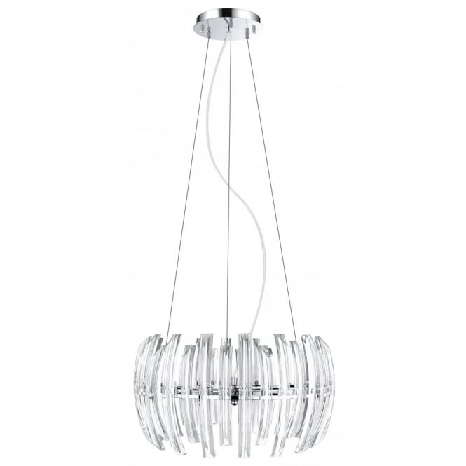 EGLO DRIFTER modern chrome & crystal ceiling pendant (medium)