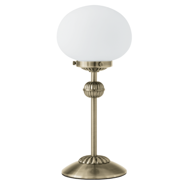 Traditional Bronze Table Lamp With Opal Glass Shade