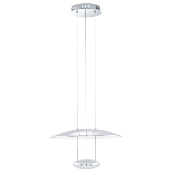 Height Adjustable Led Pendant Light Drop: Contemporary Chrome LED Ceiling Pendant With Reflector