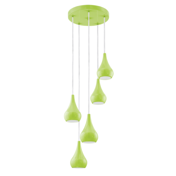 Modern 5 Light Ceiling Cluster Pendant In Green Finish