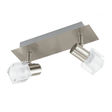 NOCERA double modern LED wall spot light in satin nickel with glass shades