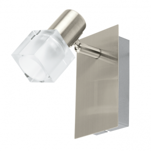 EGLO NOCERA single modern LED wall spot light in satin nickel with glass shade