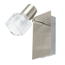NOCERA single modern LED wall spot light in satin nickel with glass shade