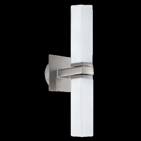 Modern Satin Nickel Bathroom Wall Light Ip44 Rated Great Over Mirror
