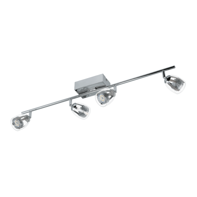 EGLO PECERO contemporary chrome LED four light spot light bar with clear shades