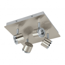 PIERINO contemporary satin nickel and chrome LED 4 light ceiling light