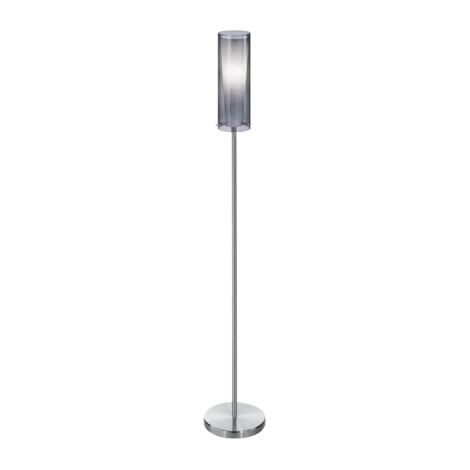 Modern Floor Lamp In Chrome With Glass Shade Double