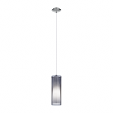 PINTO NERO single modern chrome & glass ceiling pendant