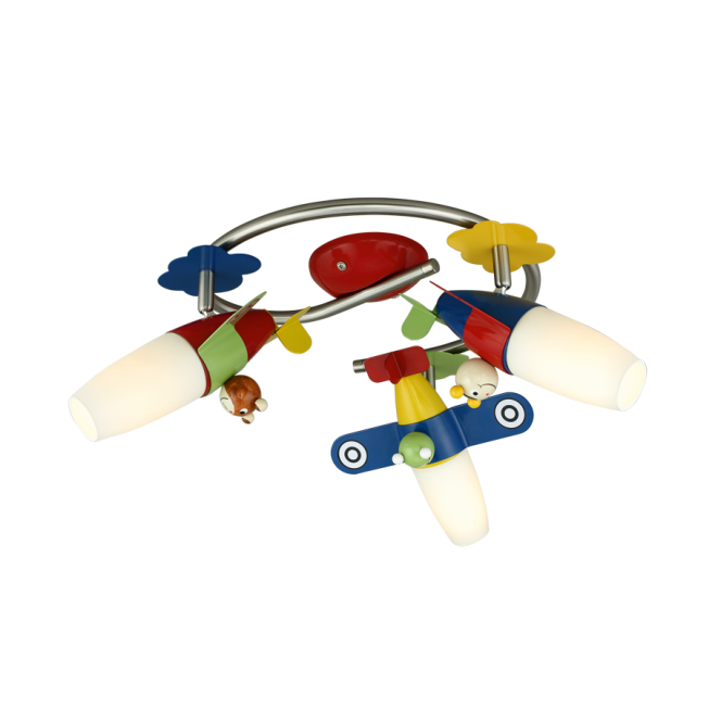 EGLO SIRO 1 child's teddy airplane themed LED ceiling light