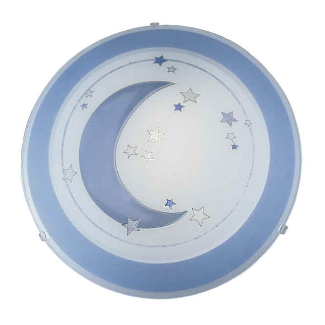 Childrens moon and stars flush ceiling light in blue and white speedy childrens moon and star ceiling light mozeypictures Gallery