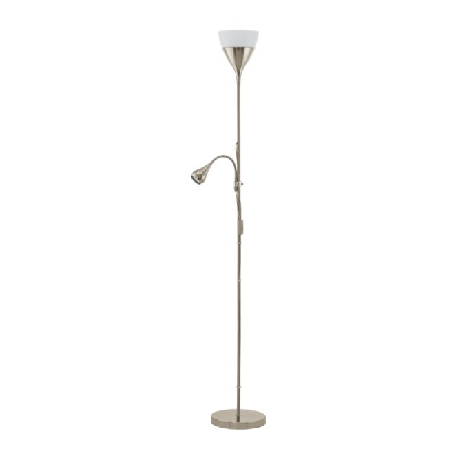 Modern led satin nickel floor lamp low energy double insulated spello 2 light modern led floor lamp in chrome aloadofball Gallery