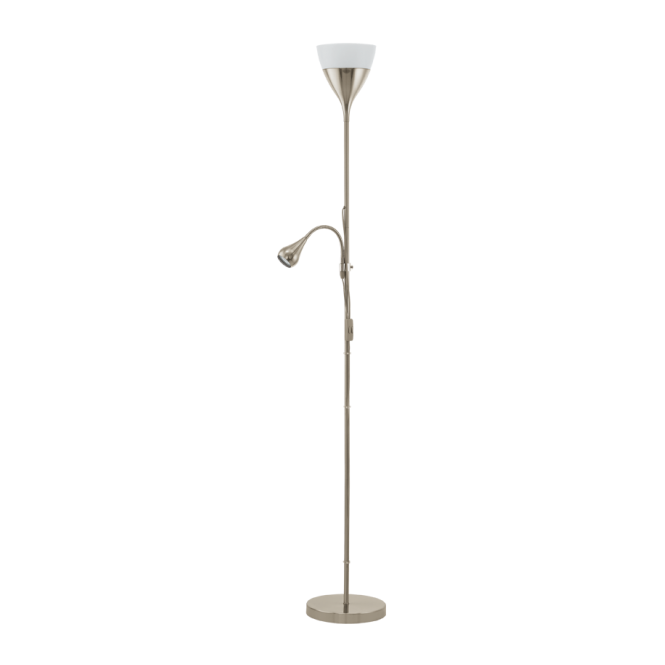 Modern led satin nickel floor lamp low energy double insulated spello 2 light modern led floor lamp in chrome mozeypictures Gallery