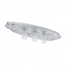 STELARIA 1 chrome and crystal ceiling light (long)
