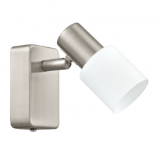 TABERNO contemporary LED spot light in satin nickel with white shade