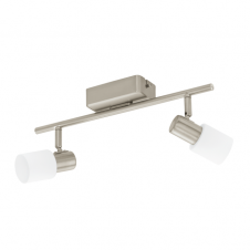 TABERNO double LED wall spot light bar in satin nickel