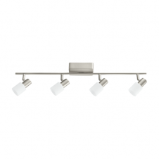 TABERNO modern 4 light LED ceiling spot light bar in satin nickel