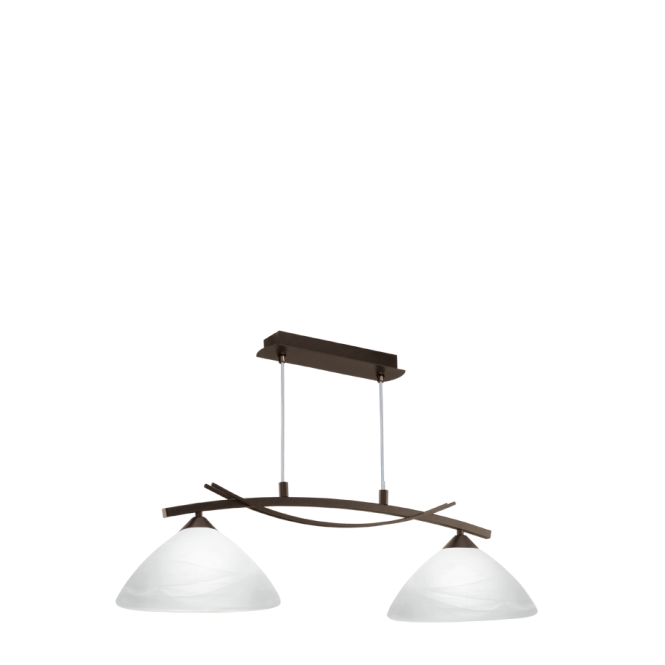 EGLO VINOVO 2 light traditional dark brown ceiling pendant with white alabaster shades