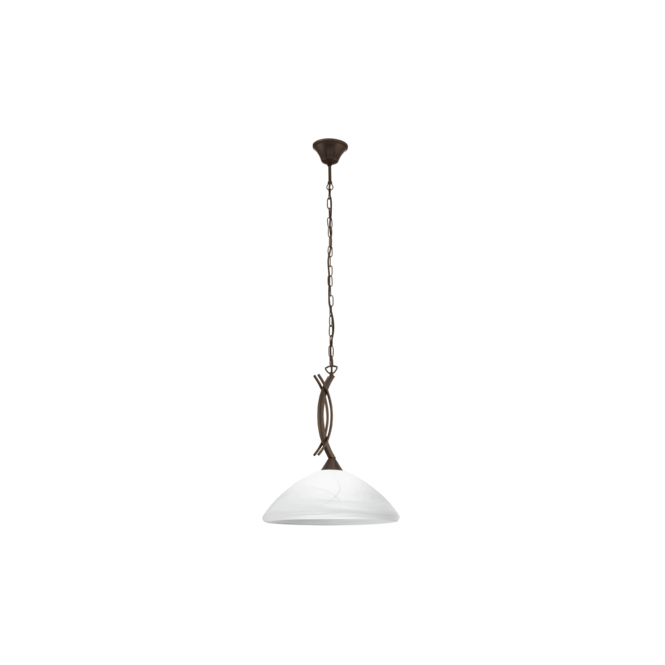EGLO VINOVO traditional dark brown ceiling pendant with white alabaster glass shade
