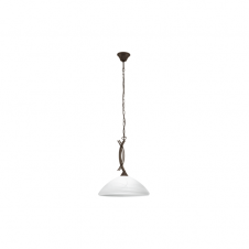 VINOVO traditional dark brown ceiling pendant with white alabaster glass shade