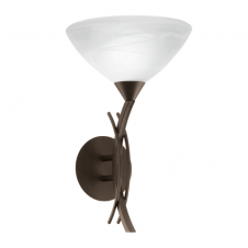 VINOVO traditional dark brown wall light with white alabaster glass shade