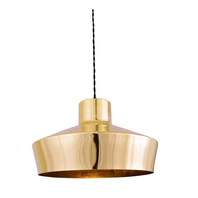 ELEGANCE industrial single pendant in polished brass finish