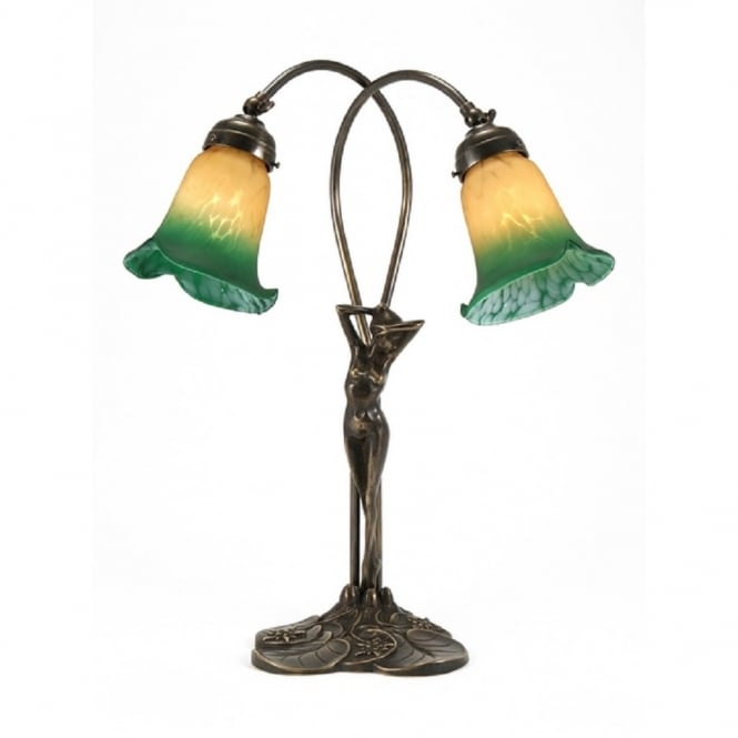 Art Nouveau Table Lamp With Female Figure Standing On Aged Brass Base