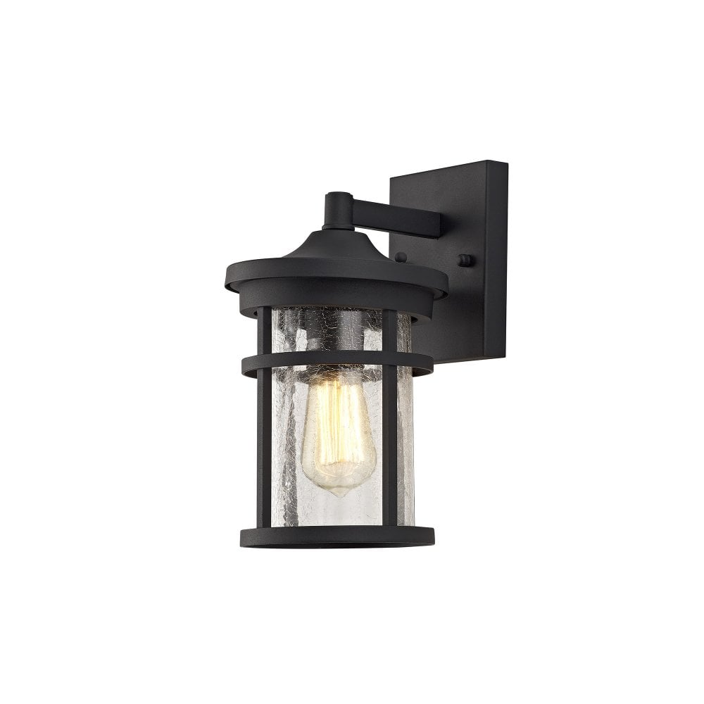 Traditional Outdoor Wall Lantern In Black With Crackle Glass