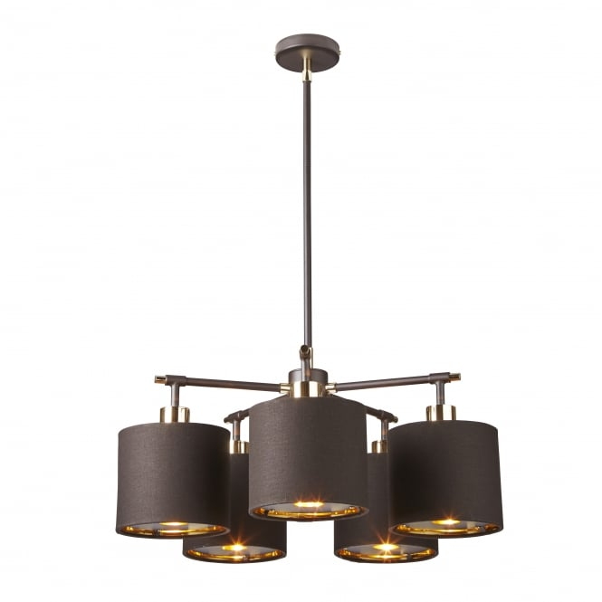 Elstead Lighting BALANCE contemporary brown and polished brass chandelier