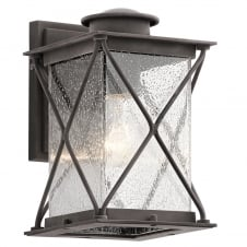 exterior wall lantern in weathered zinc with seeded glass