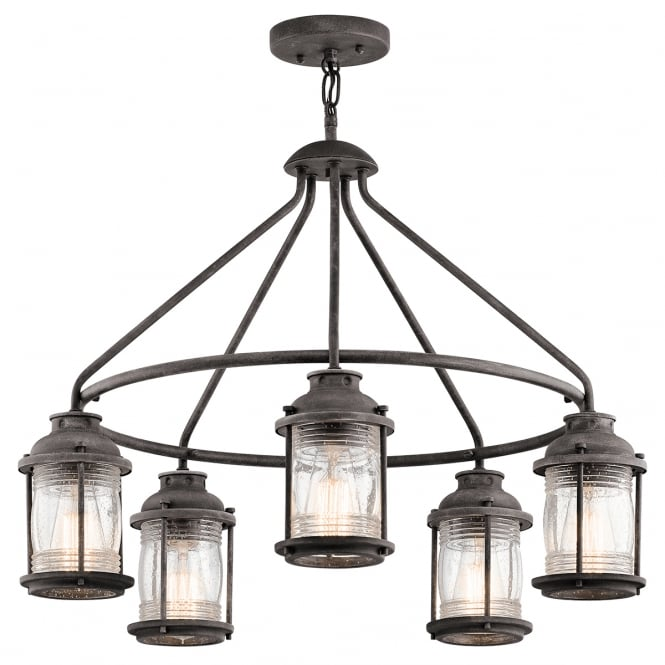 New York Lighting Collection ASHLAND BAY 5 light exterior chandelier in weathered zinc with clear seeded glass