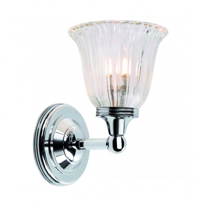 Traditional Victorian Bathroom Wall Light, IP44, Chrome, Glass Shade