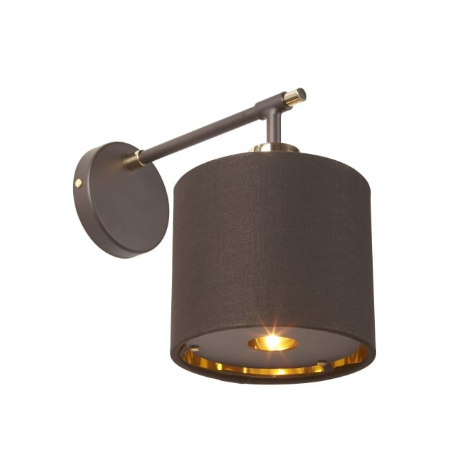 Elstead Lighting BALANCE contemporary brown and polished brass wall light