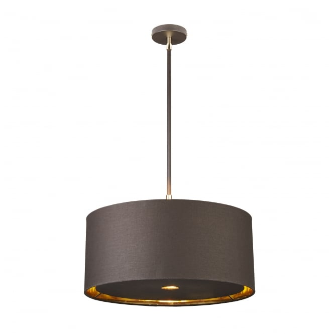 Elstead Lighting BALANCE mocha brown and polished brass ceiling pendant