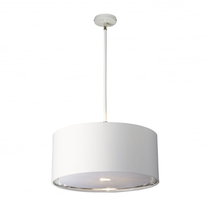 Elstead Lighting BALANCE white and polished nickel ceiling pendant