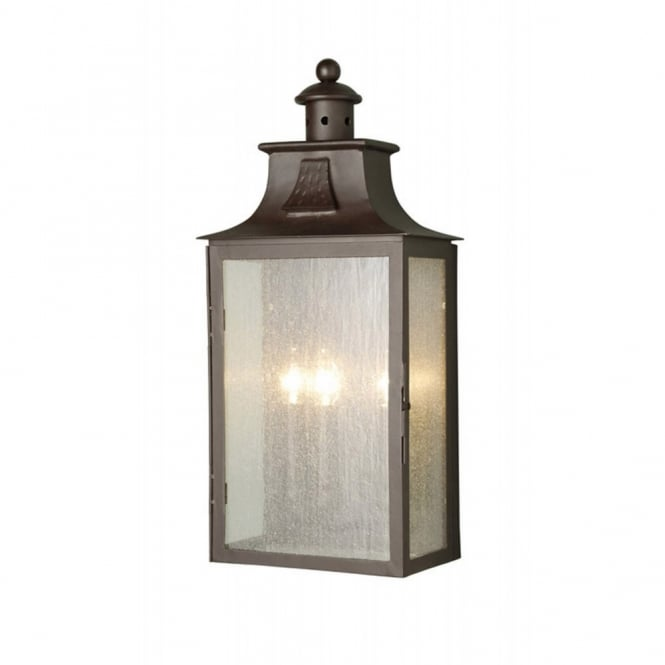 Traditional Garden Wall Lights : Large Medieval Style Wrought Iron Outdoor Lantern in Old Bronze Finish
