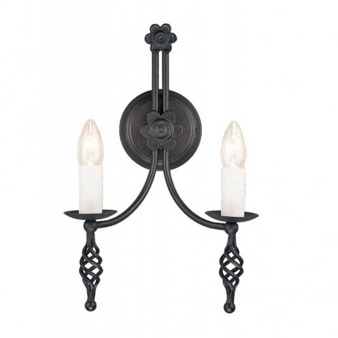 Elstead Lighting BELFRY black medieval twin wall light