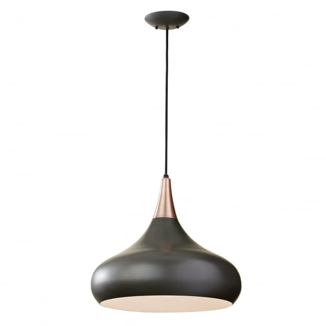 Feiss BESO contemporary dark bronze ceiling pendant with copper detailing